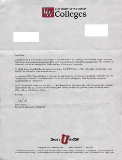UW Acceptance Letter