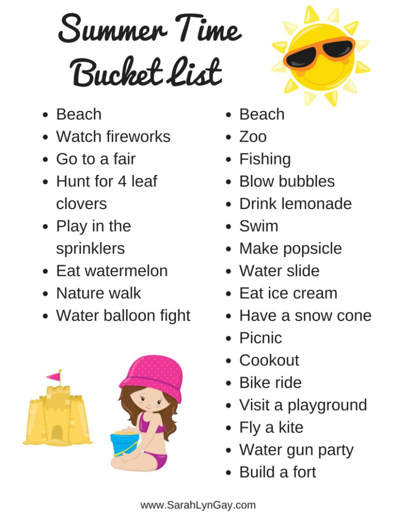 Grab My Summer Time Bucket List