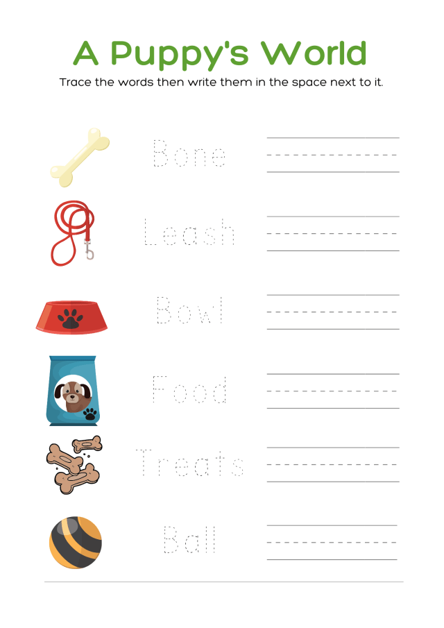National Puppy Day Fun Free Printable Worksheets writing practice