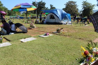 Cordoned off tent for the all-day, all night celebration, Undas