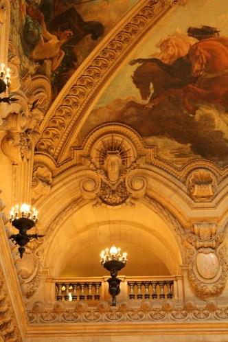 Sun King detail, the Grand Staircase ceiling, Palais Garnier.