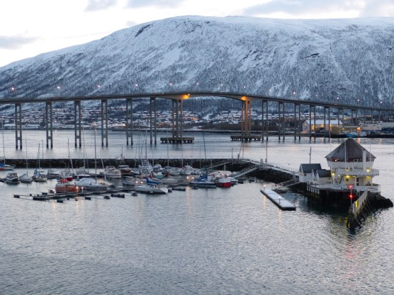 The view from my hotel of the bridge in Tromsø