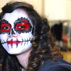 A person with skull makeup