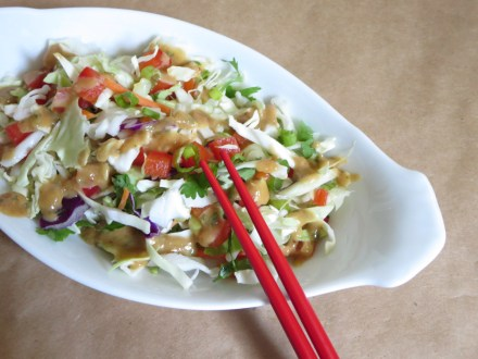Thai Crunch Salad w an AMAZING Peanut Dressing