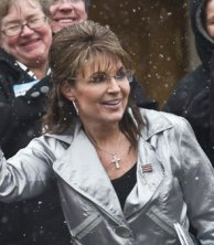 Closeup of Sarah at WI Tea Party rally