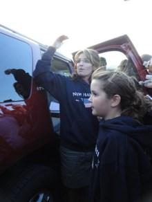 Sarah and Piper at SUV at clambake in Portsmouth NH