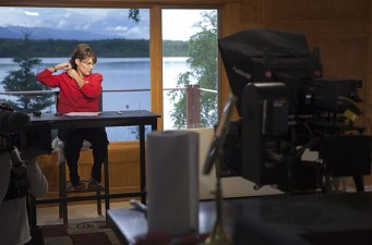 Sarah in her TV studio