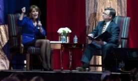 Sarah Palin and state GOP Chairman Doyle Webb during question-and-answer session in North Little Rock 02-16-10