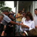 Sarah signing autograph at Reagan boyhood home