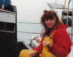 Younger Sarah on Fishing Boat