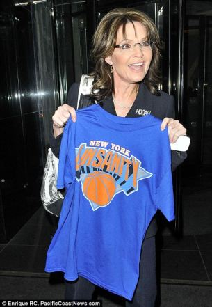 Sarah holding up Linsanity Shirt in Manhattan