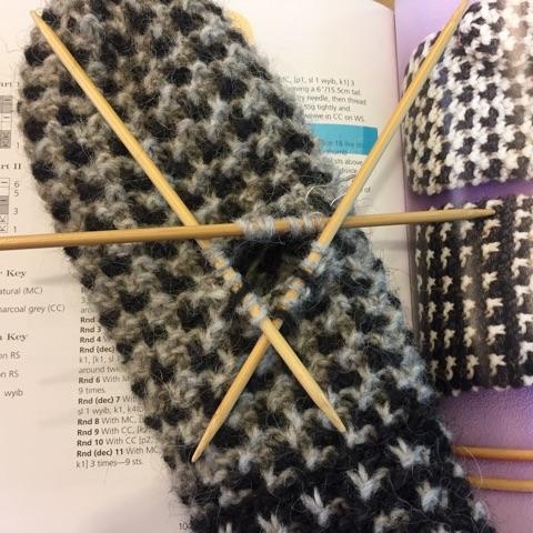 Finishing the fussy bits, e.g., knitting the thumb on a mitten