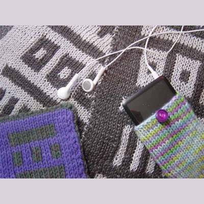 examples of double knitting, dark/light brown fabric in a square design, and a cell phone pouch in light green/purple with ear phones laid out. there is also a sample in purple in brown.