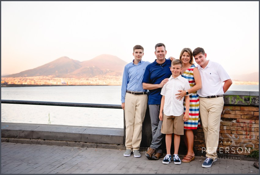 Family Photo in front of mount Vesuvius at sunset Naples Italy