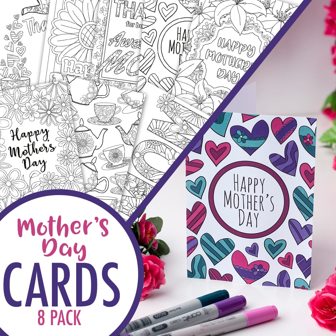 Mother S Day Coloring Cards 8 Pack Sarah Renae Clark Coloring Book Artist And Designer
