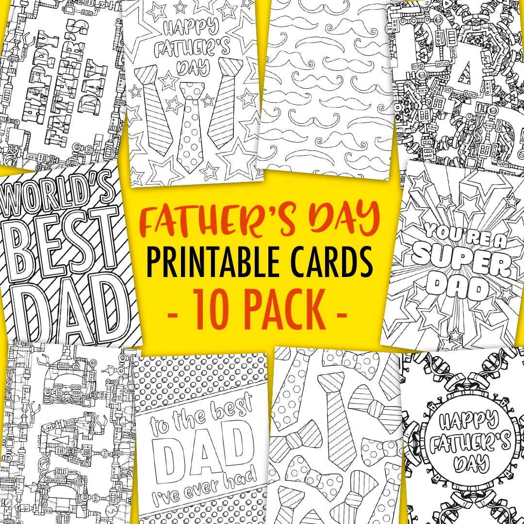 Father S Day Coloring Cards 10 Pack