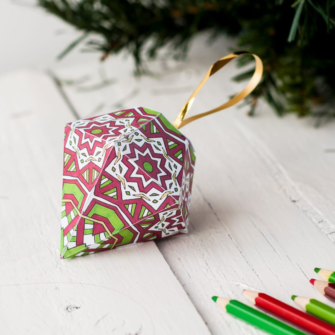Homemade Paper Christmas Ornaments: How To Make A Christmas Ornament (free Printable Template