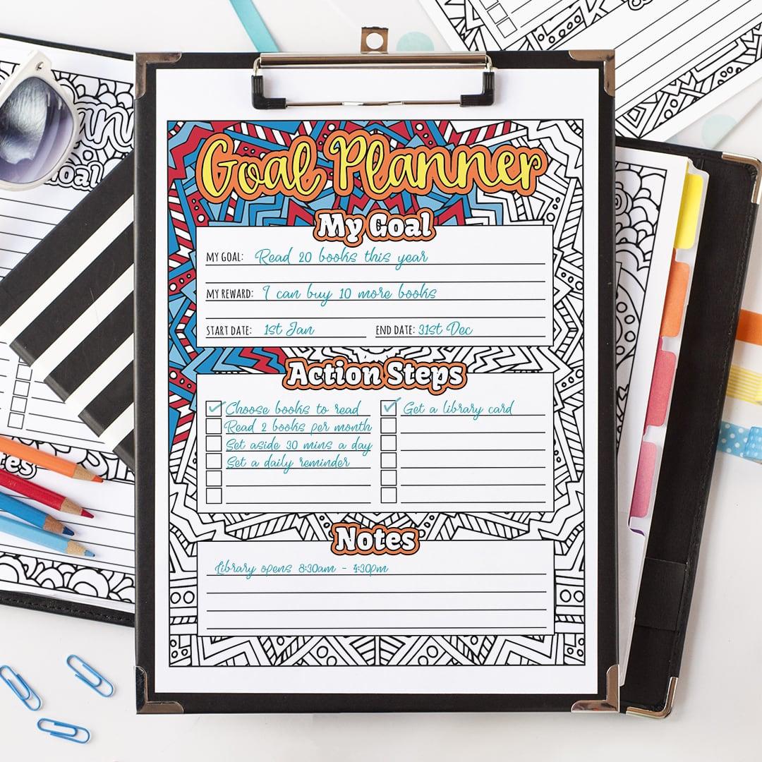 Goal Planner Printable 10 Pack Goal Setting Worksheet