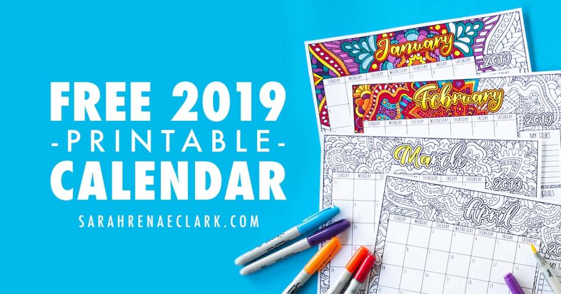 view larger image free 2019 printable coloring calendar by sarah renae clark