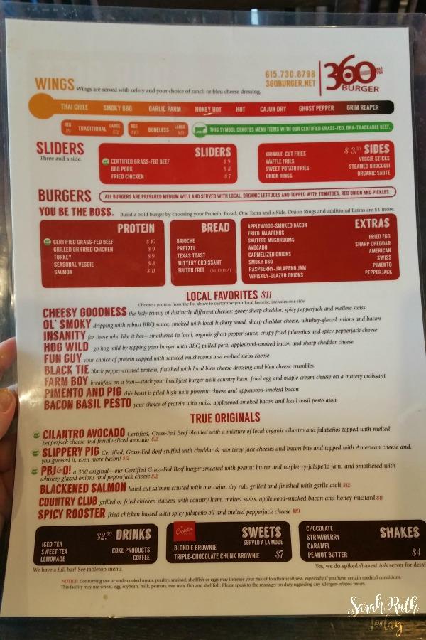 360 Burger menu