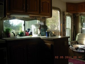 The Kitchen and the view outside