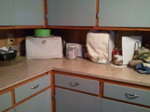 I keep my counters less cluttered. I WILL NEVER EVER HAVE THE CLUTTER FREE. It is not IN ME. I like clutter in certain places.