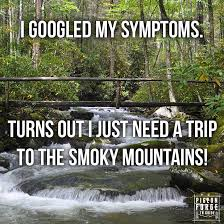 I Googled My Symptoms.... Turns Out I Just Need A Trip To The Smoky  Mountains!!! | Road trip places, Vacation meme, Vacation guide