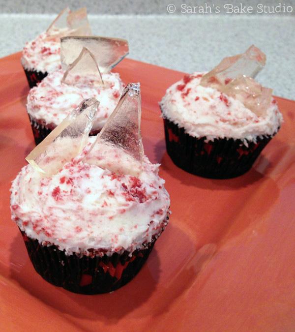 Broken Glass: Red Velvet Cupcakes with Cream Cheese Buttercream - Sarah's Bake Studio