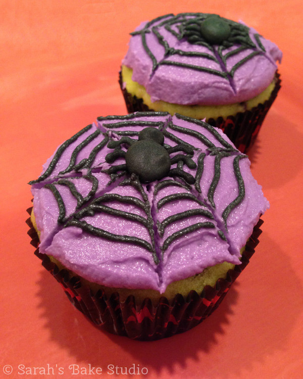 Spider Cupcakes: Maple Chocolate Chip Cake with American Buttercream - Sarah's Bake Studio