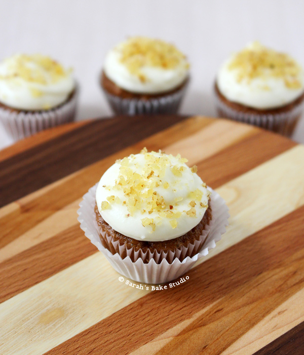 Carrot Cupcake Minis with White Chocolate Cream Cheese Frosting