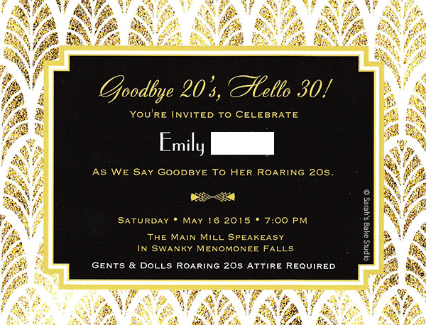 Roaring 20s Dirty 30 Birthday Invitation - Front