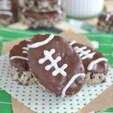 Mint Cookies And Cream Football Rice Krispie Treats from Inside BruCrew Life
