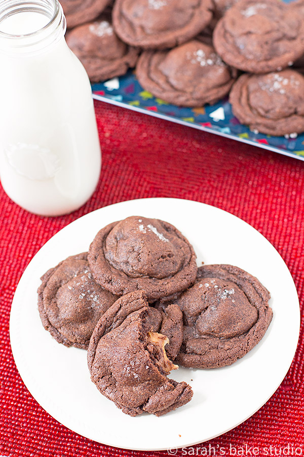 Double Chocolate Salted Caramel Cookies – a wonderful marriage of Rolos, chocolate and sea salt; your new favorite soft, chewy, extremely delicious cookie.