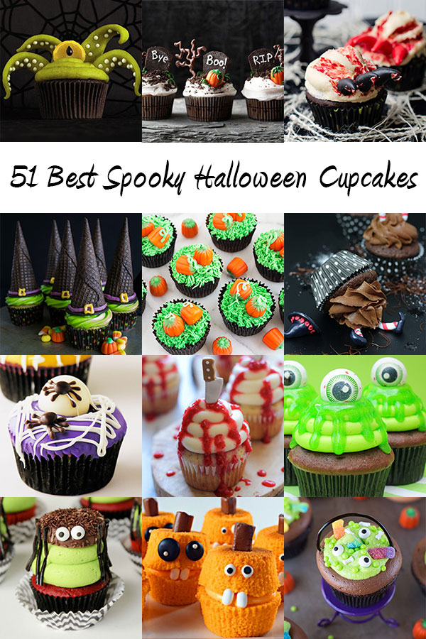 51 BEST Spooky Halloween Cupcakes - the best of the best creepy, chilling, charming, ghostly, eerie, and spooky Halloween cupcakes from around the web.