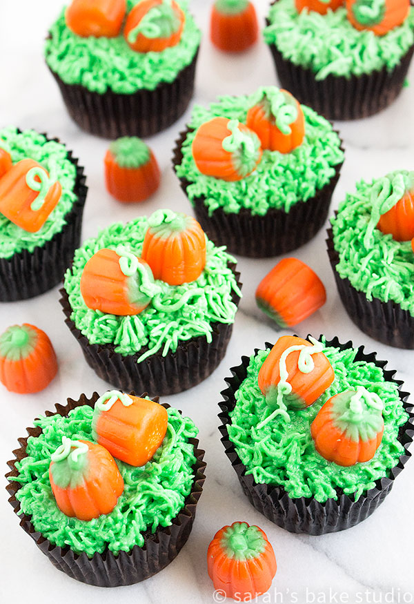 Pumpkin Patch Cupcakes – decorate your favorite chocolate cupcakes with an easy fall ensemble, candy pumpkins in a pumpkin patch.