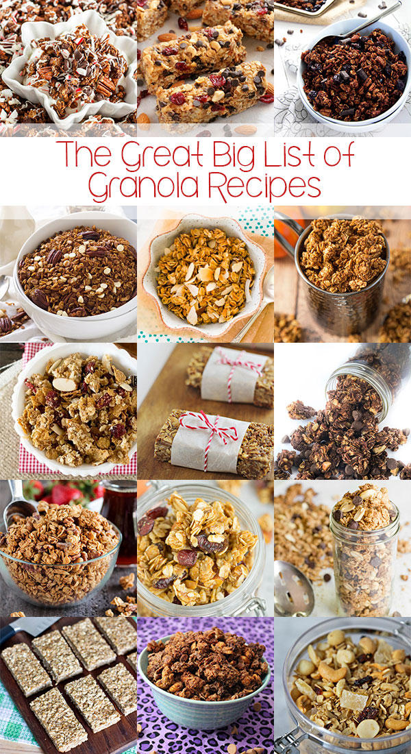 The Great Big List of Granola Recipes - a massive collection of brilliant, tasty, and healthful granola and granola bar recipes from talented bloggers from around the web; it's time to get your granola on!