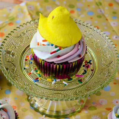 Peeps Surprise S'mores Cupcakes from The Crumby Cupcake