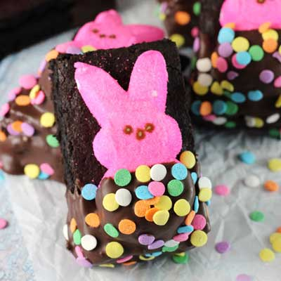 Bunny Peeps in a Blanket Brownies from Life, Love and Sugar