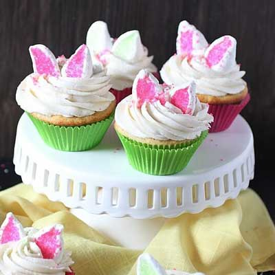 Orange Vanilla Bean Easter Bunny Cupcakes from Tastes of Lizzy T