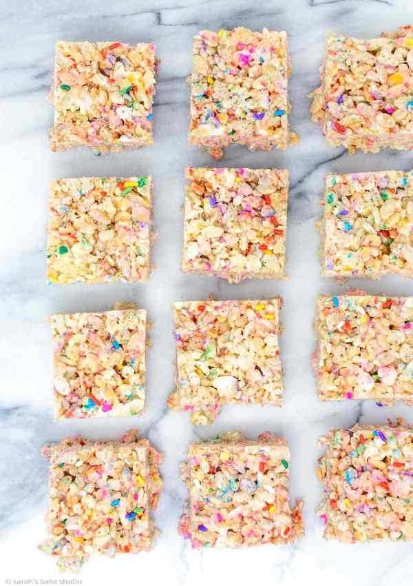 Confetti Rice Krispies Treats - your favorite cereal treats get fancy with the addition of rainbow sprinkles.