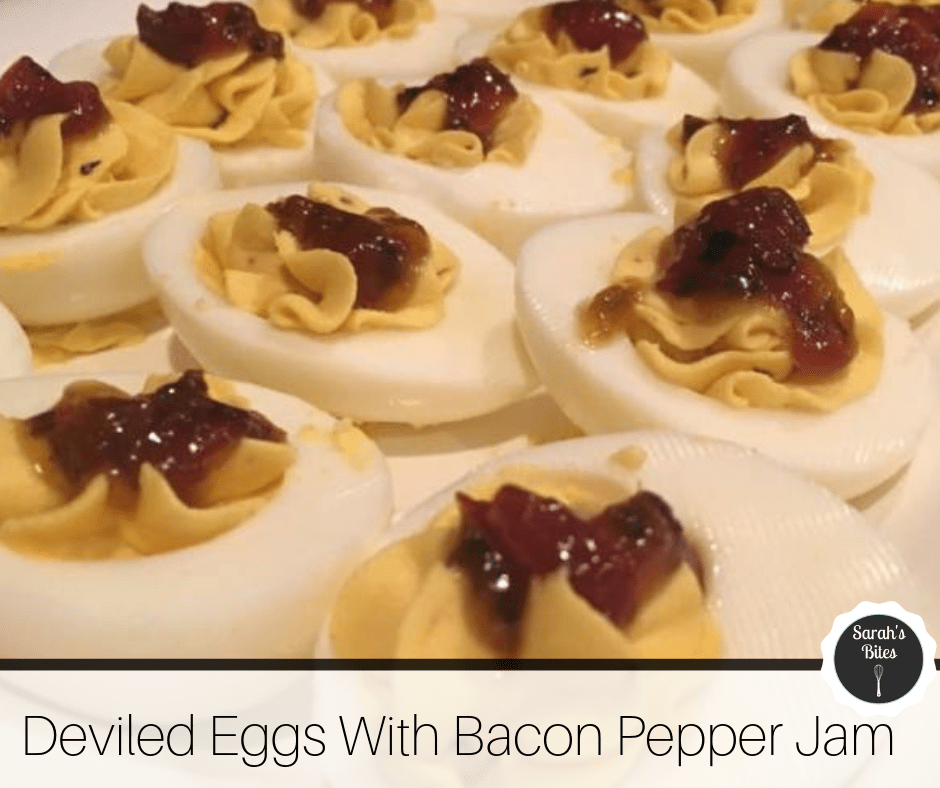 Deviled eggs with bacon pepper jam