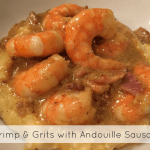 Shrimp and andouille sausage in a sauce served over grits