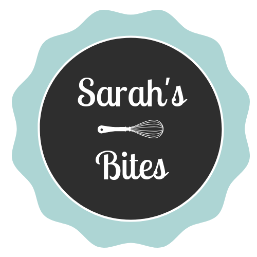 Text that says Sarah's Bites with a drawing of a whisk.