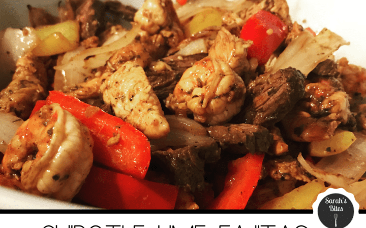 Chipotle lime fajitas (steak, chicken, shrimp, peppers, onions)