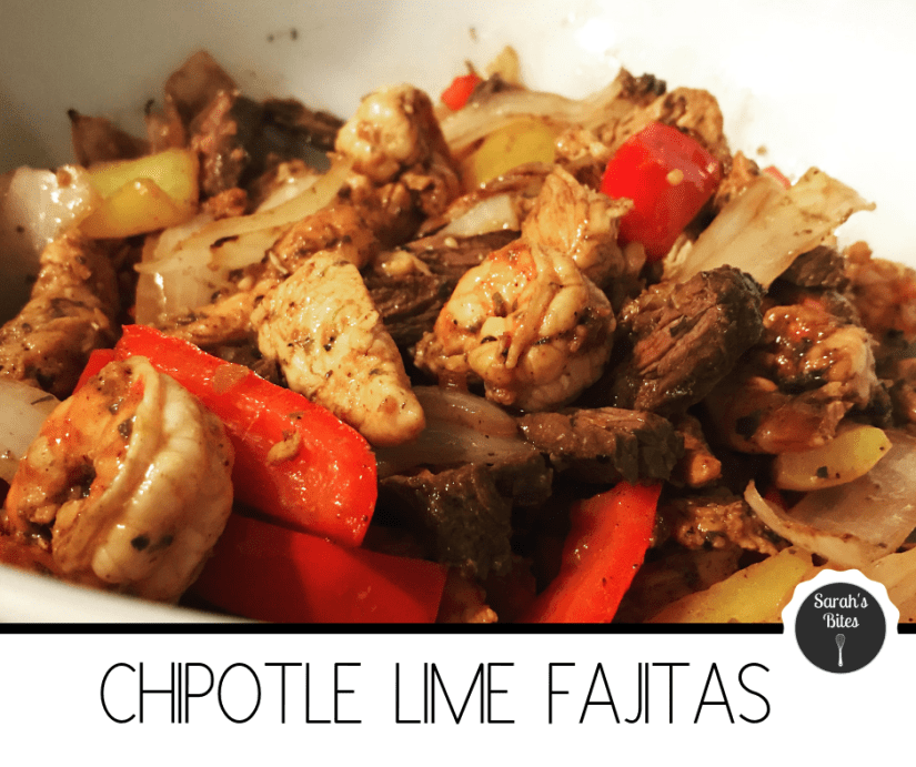 Chipotle lime fajitas with chicken, shrimp, steak, peppers, and onions
