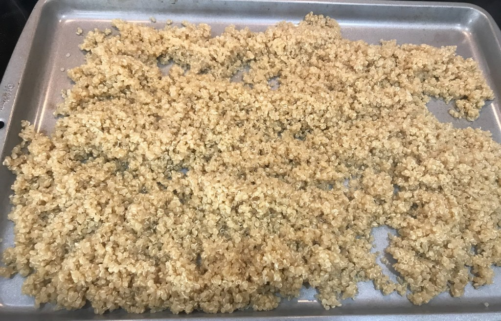 Quinoa on a baking sheet