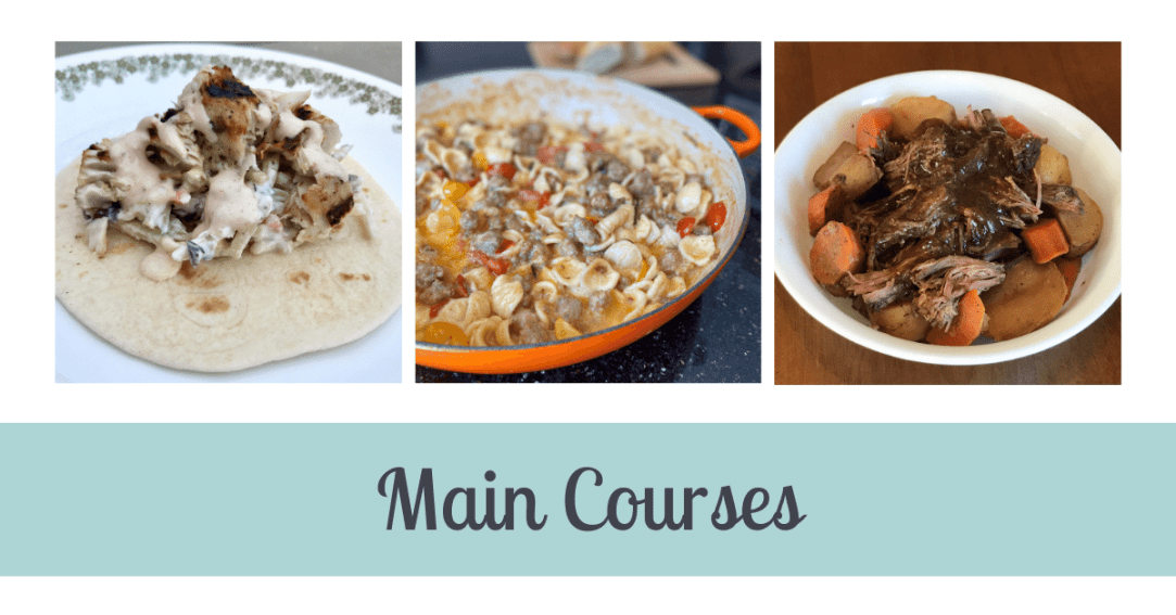 Three images. First is a fish taco. Second is pasta with sausage and tomatoes in a pot. Third is shredded beef with carrots and potatoes in a bowl. Text below the images says Main Courses.
