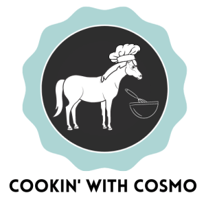Drawing of a horse wearing a chef hat in front of a bowl with a whisk. Text below the image says Cookin' With Cosmo.
