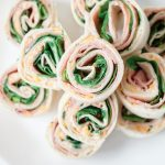 Tortilla pinwheels with deli meat and lettuce.