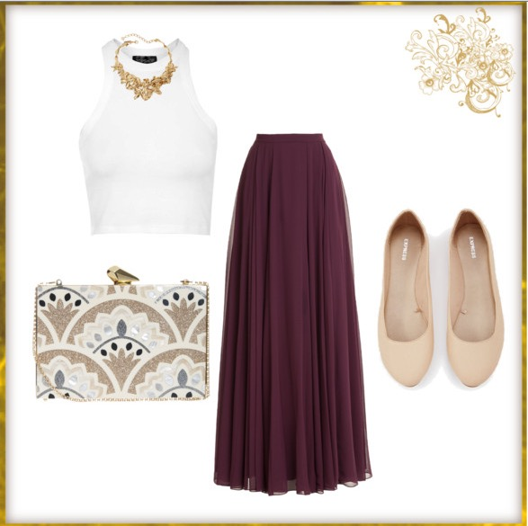 A flowy maxi skirt with gold accents creates a great Greek-inspired look for spring.